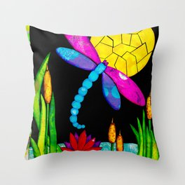 Find Your Way - paper pieced dragonfly Throw Pillow