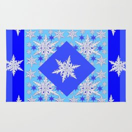 DECORATIVE BABY BLUE SNOW CRYSTALS BLUE WINTER ART Rug