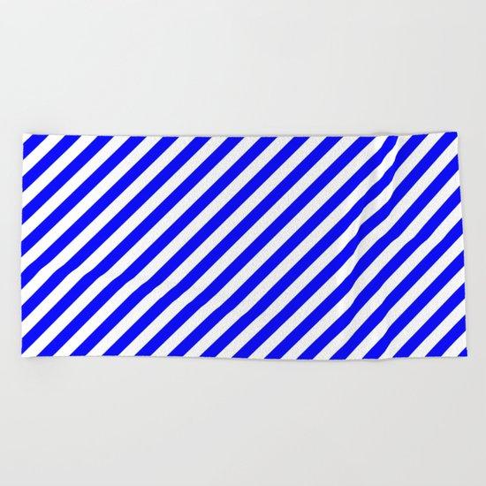 Diagonal Stripes (Blue/White) Beach Towel