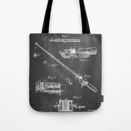 Fishing Rod Patent - Fishing Art - Black Chalkboard Tote Bag