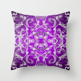 dark purple and silver Digital pattern with circles and fractals artfully colored design for house Throw Pillow