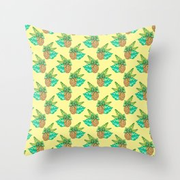 Tropical Leaves and Pineapples on Yellow Throw Pillow