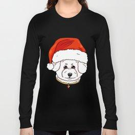 Bichon Frise Dog Christmas Hat Present Long Sleeve T-shirt