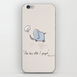 For this child I prayed baby elephant bible verse art print iPhone Skin
