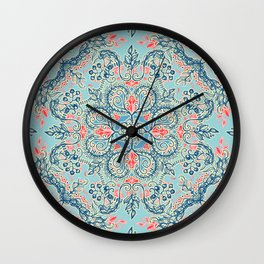 Gypsy Floral in Red & Blue Wall Clock