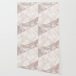 French polished rose gold marble & pearl Wallpaper