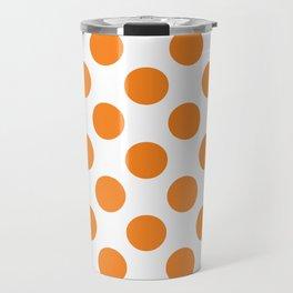 Orange Large Polka Dots Pattern Travel Mug