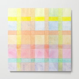 Pastel colored Watercolors Check Pattern Metal Print