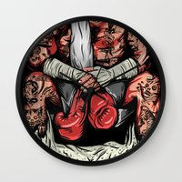 boxer Wall Clocks featuring Boxer by Ricca Design Co.