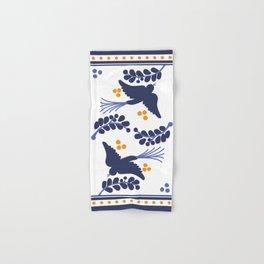 Talavera Blue Bird, Mexican Style Tile // Mexico Festive Traditional Motif Hand & Bath Towel