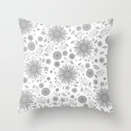 Beautiful Flowers in Faded Gray Black and White Vintage Floral Design Throw Pillow