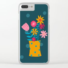 Spotty Flowers Clear iPhone Case