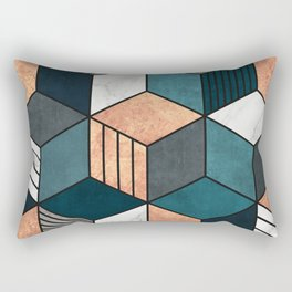 Copper, Marble and Concrete Cubes 2 with Blue Rectangular Pillow