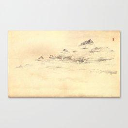 Egrets in Golden Morning Mist Canvas Print