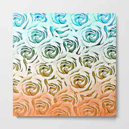 blooming rose pattern texture abstract background in blue and pink Metal Print