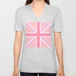 Pink Union Jack/Flag Design Unisex V-Neck