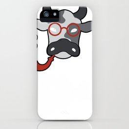 Urban Hipster Moo Cow Smoking A Pipe Shirt For Fans Of Oxen iPhone Case