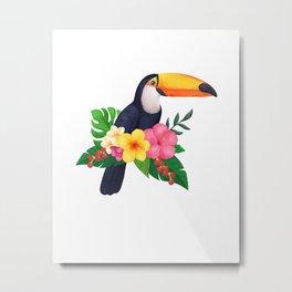 Tropical Toucan Floral Watercolor Metal Print