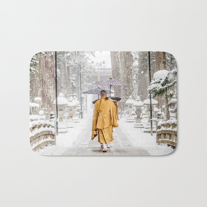 Japanese Buddhist Monks in Winter Bath Mat