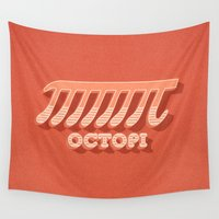 pi Wall Tapestries featuring Octopi (PI) / Funny Nerd & Geek Humor (retro style) by badbugs_art