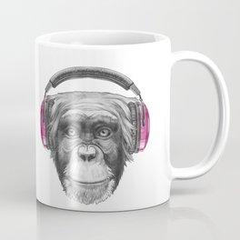 Portrait of Monkey with headphones. Coffee Mug