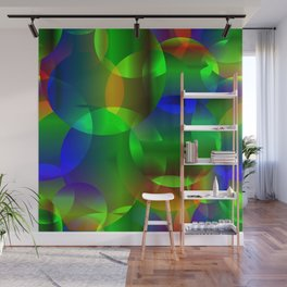Abstract soap  from space neon bright circles and bubbles on a shiny background. Wall Mural