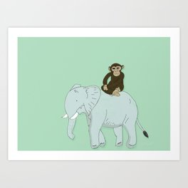 Elephant and Monkey Art Print