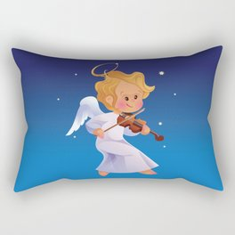Cute Christmas  baby angel playing violin Rectangular Pillow