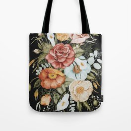 Roses and Poppies Bouquet on Charcoal Black Tote Bag