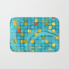 Block Aqua Blue and Yellow Art - Block Party 2 - Sharon Cummings Bath Mat