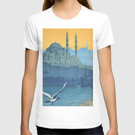 Mid Century Modern Travel Vintage Poster Istanbul Turkey Grand Mosque T-shirt