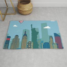 New York Cityscape Illustration Rug