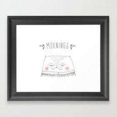 mornings cat Framed Art Print