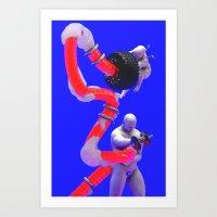 Grey Man and Cherub Enjoying Gearhead Culture Art Print
