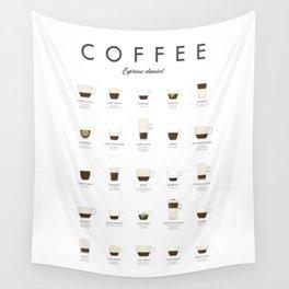 Coffee Chart - Espresso Classics Wall Tapestry