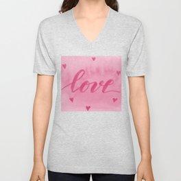 Valentine's Day Watercolor Love – pink Unisex V-Neck