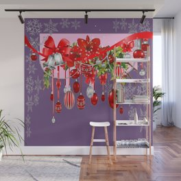PURPLE WINTER SNOWFLAKES CHRISTMAS DECORATIONS ART ABSTRACT Wall Mural