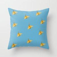 crane Throw Pillows featuring Crane by leemonade