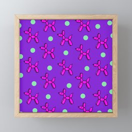 Balloon Dog Delight! Pink, Purple & Green Framed Mini Art Print