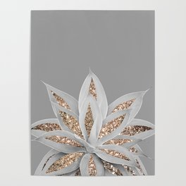 Gray Agave with Gold Glitter #1 #shiny #tropical #decor #art #society6 Poster