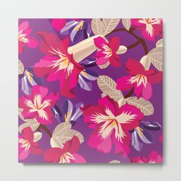 Beautiful pattern with tropical flowers. Metal Print