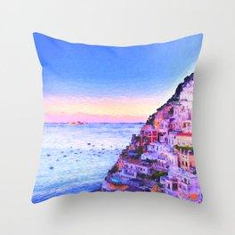 Twilight Over Positano, Italy Throw Pillow