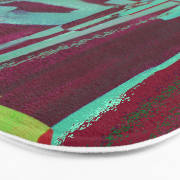 Raspberry Jam - Textured, abstract, raspberry, cyan and green painting Bath Mat