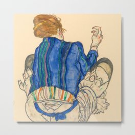 "Egon Schiele ""Seated Woman, Back View"" Metal Print"