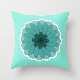 turquoise blue geometrical flower Throw Pillow