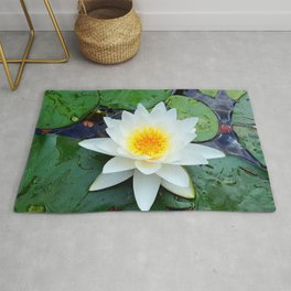 Bright White Lily with Yellow center Rug