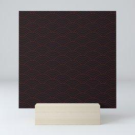 Red and black sashiko Mini Art Print