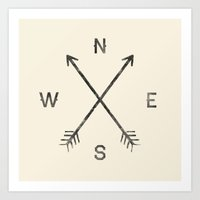 compass Art Prints featuring Compass (Natural) by Zach Terrell
