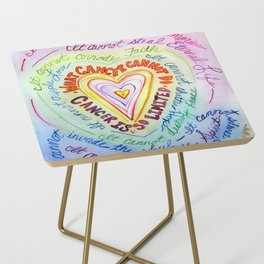 Rainbow Heart Colorful What Cancer Cannot Do Poem Side Table