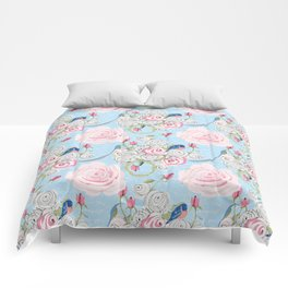 Bluebirds and Watercolor roses on pale blue with white French script Comforters